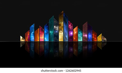 Colourfull art with shapes in black background