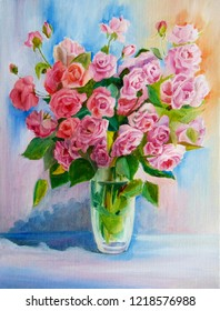 Colourfull gently  bouquet of pink roses.Still life oil paint on canvas. Bright happy romantic flowers for women. Light realistic painting with colourfull background.