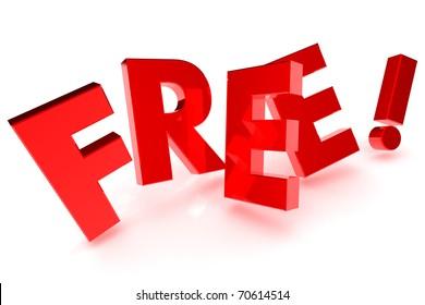 "A Colourufl 3d Rendered ""Free"" Concept Ilustration"