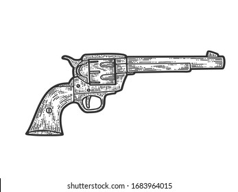 Colt revolver, cowboy gun. Apparel print design. Scratch board imitation. Black and white hand drawn image. Engraving raster illustration