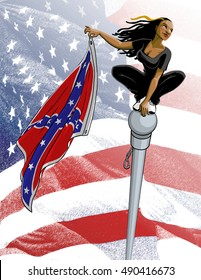 COLUMBIA, SC - JUNE 27, 2015: A comic book version of activist Bree Newsome crouching on the top of a flagpole, superhero-style, while poised to drop the Confederate flag to the ground.