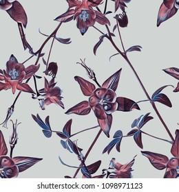 Columbine seamless pattern. Watercolor Background.