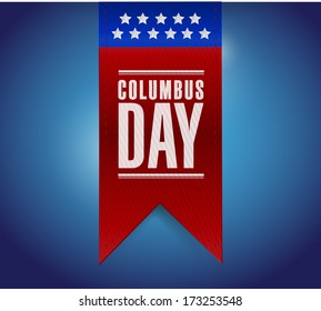 columbus day banner sign illustration design over a blue background