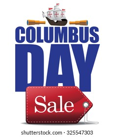 Columbus Day Sale Design. royalty free stock illustration for ad, promotion, poster, flier, blog, article, social media, marketing