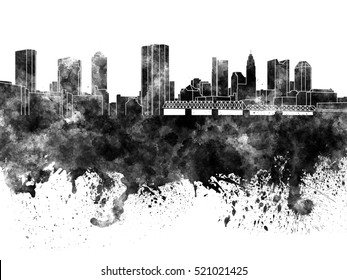 Columbus skyline in black watercolor on white background