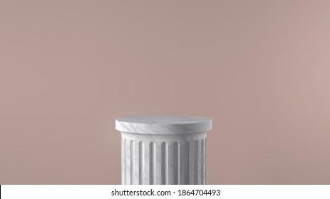 column pedestal isolated Greek pillar platform, 3d Illustration