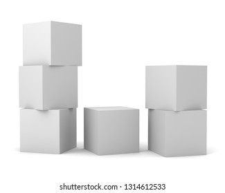 Columns Of Blank White Cubes. Stacked Boxes Mockup.  3d render