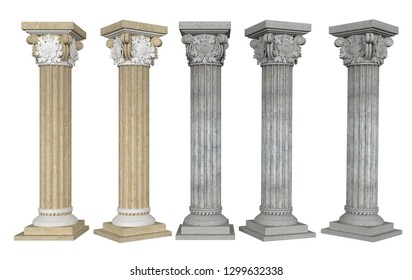 Columns with Capital from different angles on white background. 3D rendering. 3D illustration