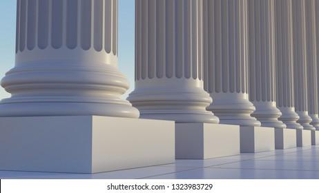 Columns in Greek or Roman style in 3d