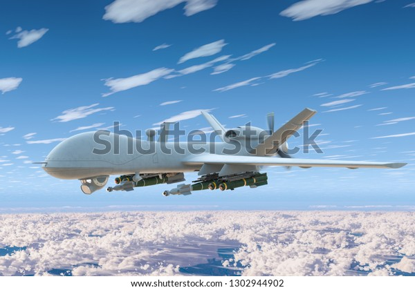 Combat drone fly in the blue sky above the clouds. 3D rendering