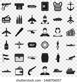 Combat gun icons set. Simple style of 36 combat gun icons for web for any design