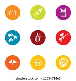 Combat training icons set. Flat set of 9 combat training icons for web isolated on white background