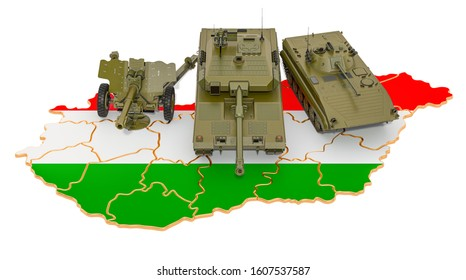 Combat vehicles on Hungarian map. Military defence of Hungary concept, 3D rendering isolated on white background