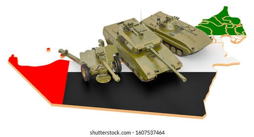 Combat vehicles on the UAE map. Military defence of the United Arab Emirates concept, 3D rendering isolated on white background