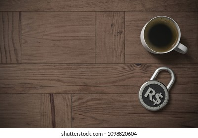 A combination lock is locked with a Brazil Real sign indicating protected money and peace of mind with coffee on a wooden table with copy space as 3d rendering.