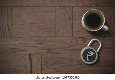 A combination lock is locked with an Indian Rupee sign indicating protected money and peace of mind with coffee on a wooden table with copy space as 3d rendering.