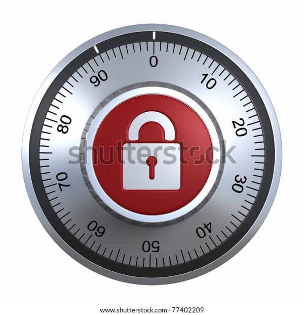 Combination Lock with padlock .clipping path included
