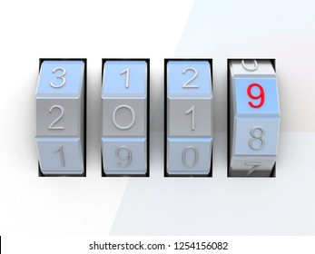Combination lock with text 2019. 3D illustration