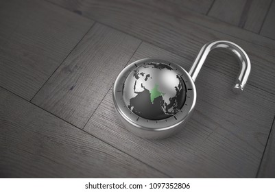 A combination lock is unlocked with the Earth as its focus, specifically India, indicating access to trade, on a wooden table as 3d rendering.