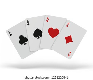 The combination of playing cards poker casino. Isolated playing cards up on table isolated on white background.  illustration.