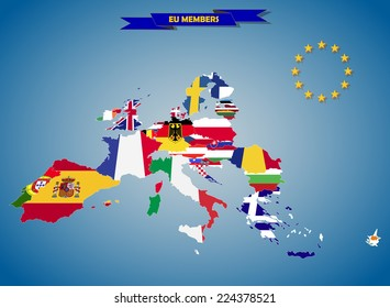 Combined flag maps of European Union countries