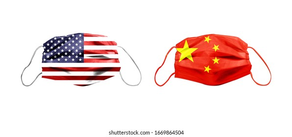 Combined image of American flag, Chinese flag and medical mask. Acute global alert banner for Wuhan pneumonia virus (such as SARS virus)