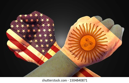 It combines the Argentine flag with the American flag and fists to tell the concept of communication and dialogue.