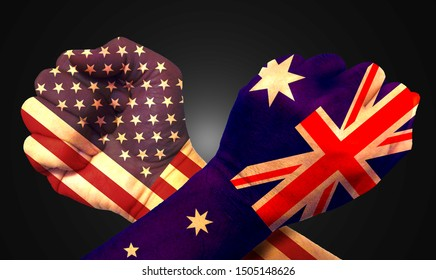 It combines the Australian flag with the American flag and fist to tell the concept of communication and dialogue.