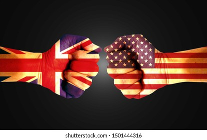 It combines the British flag with the American flag and fists to tell the concepts of trade wars, communication and dialogue.