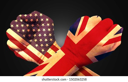 It combines the British flag with the American flag and fists to tell the concept of communication and dialogue.