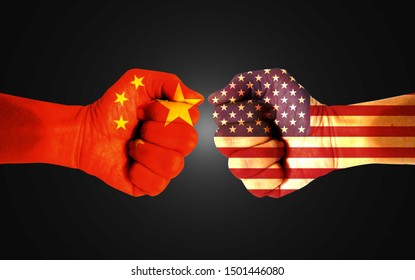 It combines the Chinese flag with the American flag and fists to tell the concepts of trade warfare, communication and dialogue.