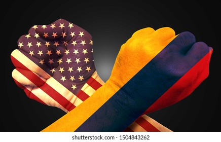 It combines the Colombian flag with the American flag and fists to tell the concept of communication and dialogue.