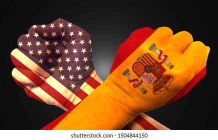 It combines the Egyptian flag with the American flag and fist to tell the concept of communication and dialogue.