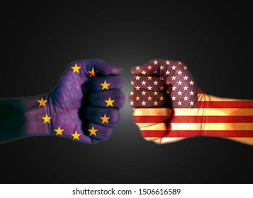 It combines the EU flag with the American flag and fist and tells the concept of trade war communication and dialogue.