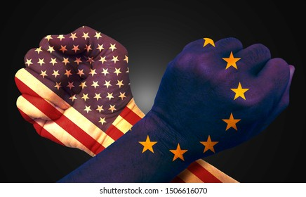 It combines the EU flag with the American flag and fists to tell the concept of trade warfare communication and dialogue.