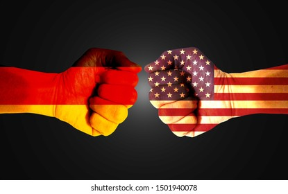 It combines the German flag with the American flag and fists to tell the concept of communication and dialogue.