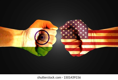 It combines the Indian flag with the American flag and fists to tell the concepts of trade warfare, communication and dialogue.