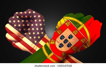 It combines the Portuguese flag with the American flag and fist to tell the concept of communication and dialogue.