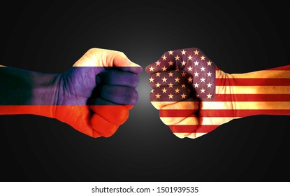 It combines the Russian flag with the American flag and fists to tell the concept of communication and dialogue.