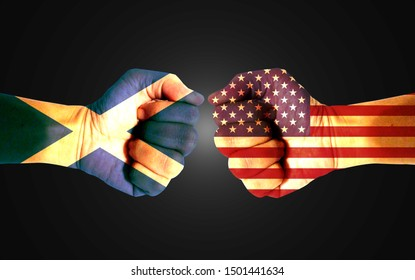 It combines the Scottish flag with the American flag and fists to tell the concepts of trade, communication and dialogue.
