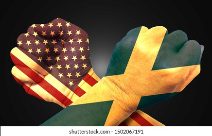 It combines the Scottish flag with the American flag and fists to tell the concept of communication and dialogue.