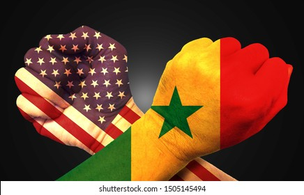 It combines the Senegalese flag with the American flag and fist to tell the concept of communication and dialogue.