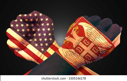 It combines the Serbian flag with the American flag and fist to tell the concept of communication and dialogue.