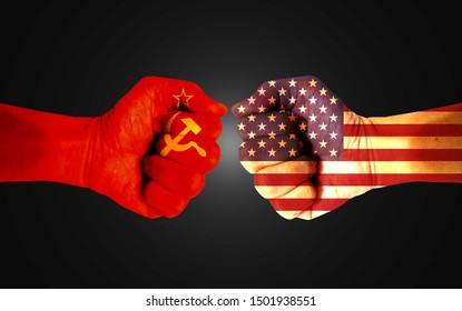 It combines the Soviet Union flag with the American flag and fists to tell the concept of communication and dialogue.