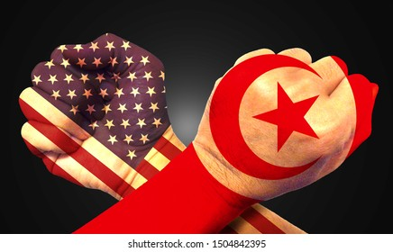 It combines the Tunisia flag with the American flag and fist to tell the concept of communication and dialogue.