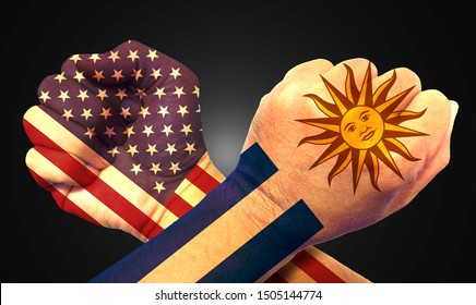 It combines the Uruguayan flag with the American flag and fist to tell the concept of communication and dialogue.