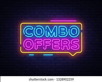 Combo Offers neon text design template. Big discount light banner design element colorful modern design trend, night bright advertising, bright sign. illustration.
