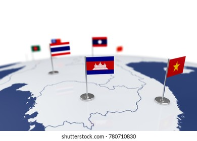 Combodia flag. Country flag with chrome flagpole on the world map with neighbors countries borders. 3d illustration rendering