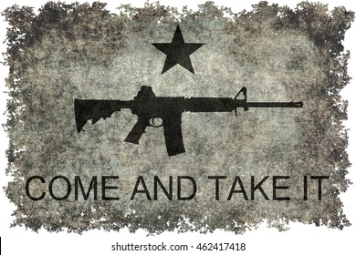 Come and take it flag with assault rifle