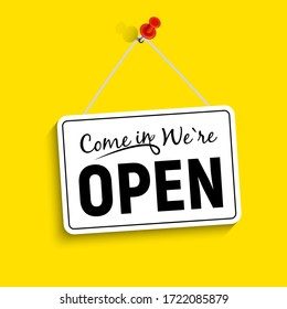 Come in We Are Open Sign  Illustration